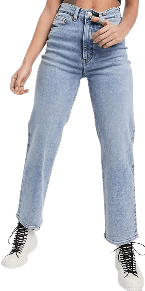 Vintage Blue High Waist Straight Leg Jeans-Monki Zami