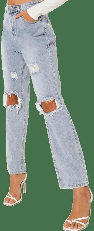 Vintage Wash Knee Rip Straight Leg Jeans