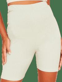 Violet Sage Ribbed Cycle Shorts-Missy Empire