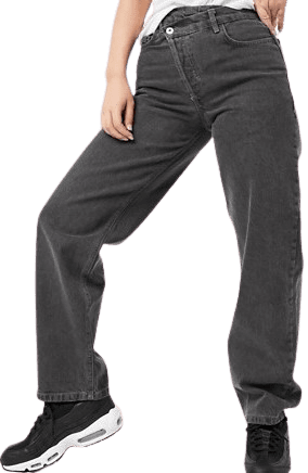 Washed Black Dad Jeans With Stepped Waistband-Collusion