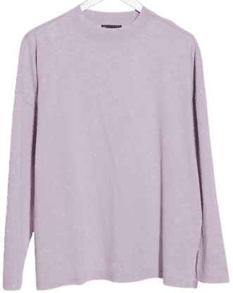 Washed Ice Orchid Boxy Long Sleeve Top-Asos Design