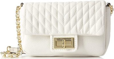 White Agyness Quilted Flap Crossbody Bag-Karl Lagerfeld Paris