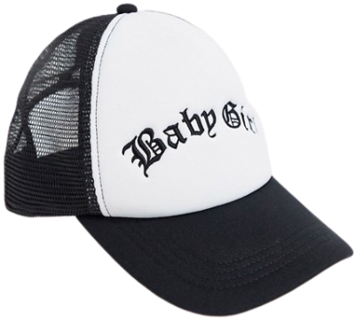 White Baseball Trucker Hat With 'Baby Girl' Slogan-Asos Design