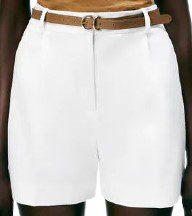 White Belted Shorts-Zara