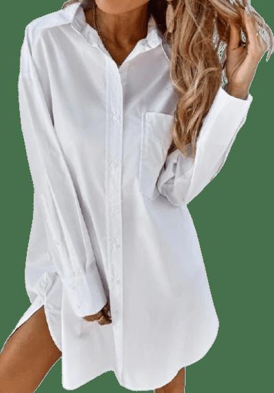White Button Front Shirt Dress-Shein