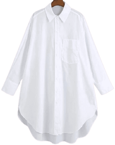 White Button Through Curved Hem Shirt Dress-Shein
