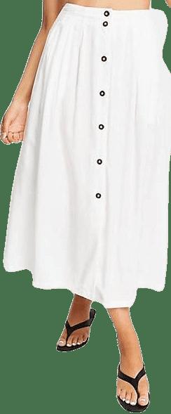 White Button Through Midi Skirt-Asos Design