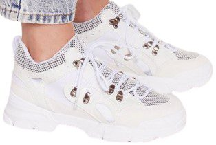 White Chunky Lace-Up Sneakers-Nasty Gal