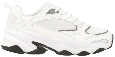 White Contrast Sole Chunky Sports Sneakers-Boohoo