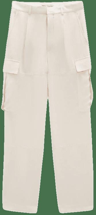 White Flowy Cargo Pants-Zara