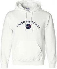 White I Need My Space NASA Embroidered Hooded Sweatshirt