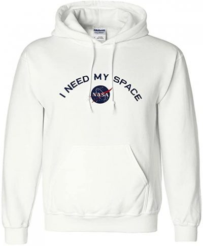 White I Need My Space NASA Embroidered Hooded Sweatshirt