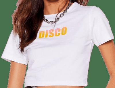 White It's Disco Night Cropped Tee-Nasty Gal