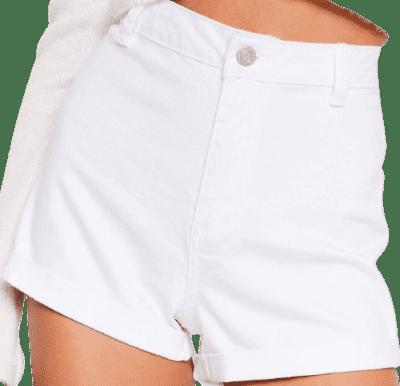 White It's Your Turn-Up High-Waist Denim Shorts