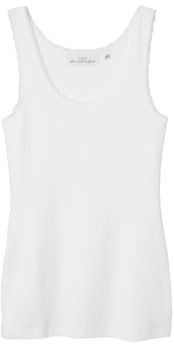 White Lace-Trimmed Tank Top