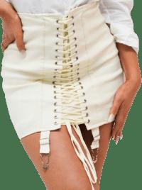 White Lace Up Suspender Corset Mini Skirt-Lily Lulu