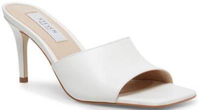 White Leather Jeanette Sandals-Steve Madden