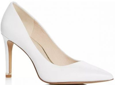 White Leather Riley Pointed-Toe Pumps