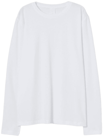 White Long-Sleeved Jersey Top-H&M