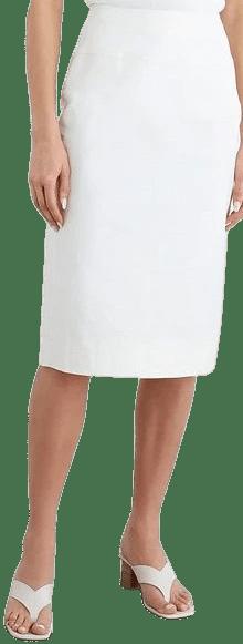 White Melanie Cotton-Blend Twill Pencil Skirt-Iris & Ink