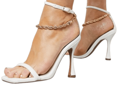 White Nimbus Chain Detail Barely There Heeled Sandals-Asos Design
