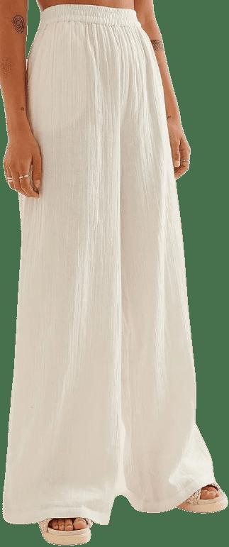 White Organic Structured Flowy Elastic Waist Pants-NA-KD