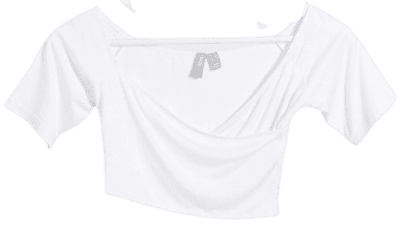 White Petite Wrap Off Shoulder Crop Top