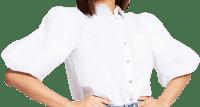 White Puff Sleeve Poplin Shirt-River Island