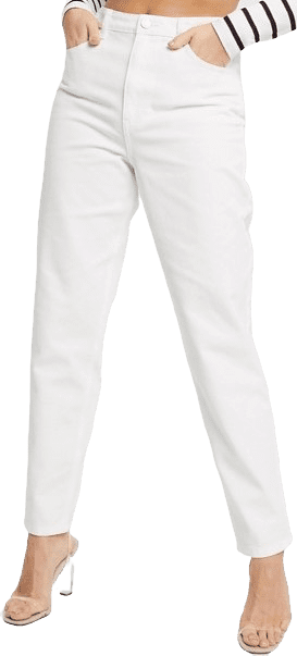 White Riot High Waisted Mom Jeans-Missguided