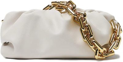 White Ruched Chunky Chain Shoulder Handbag