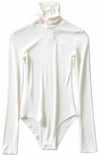 White Shin Turtleneck Long Sleeves Bodysuit-Goodnight Macaroon