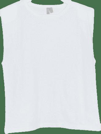 White Sleeveless Relaxed T-Shirt