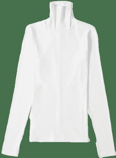 White The Pima Micro Rib Turtleneck