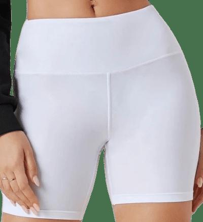 White Wide Waistband Biker Shorts-Shein