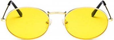 Yelllow Metal Oval Hippie BOHO Style Sunglasses