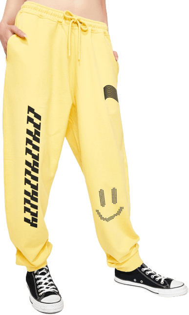 Yellow Information Technology Track Pants-Lazy Oaf
