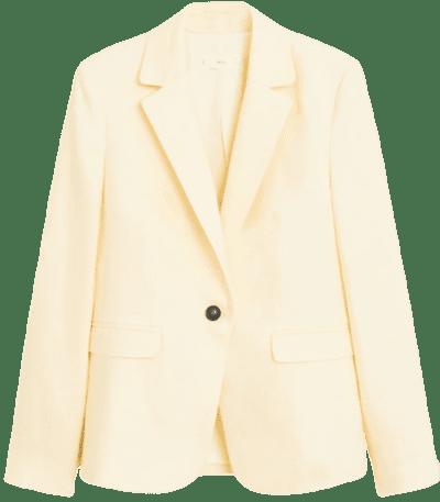 Yellow Linen Button Blazer-Mango