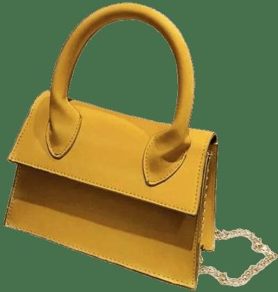 Yellow Minimalist Trapezoid Satchel Bag-Shein