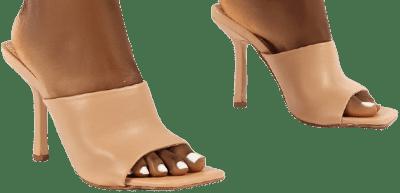Zavia Nude Square Toe Mules-Public Desire