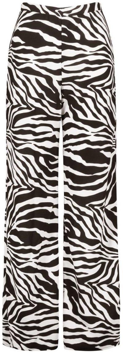 Zebra Print Wide Leg Pants-Boohoo