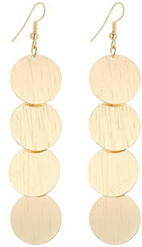 Gold Disc Drop Earrings