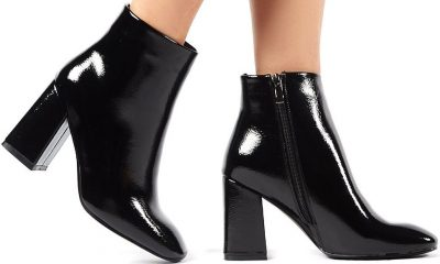 Aimee Black Crinkle Patent Square Toe Ankle Boots-Public Desire