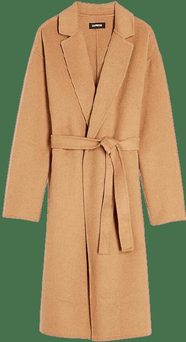 Beige Belted Wrap Front Wool Coat