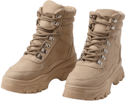 Beige Chunky Sole Hiker Boots