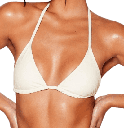 Beige Halter Triangle Tie Bikini Top-Nasty Gal