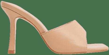 Beige Harlow Square Toe Mule Sandals-Public Desire