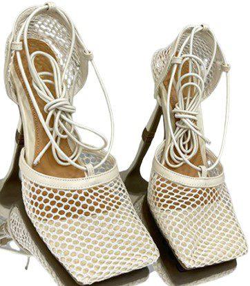 Beige Lace-Up Mesh Stilettos-Phil Beauty
