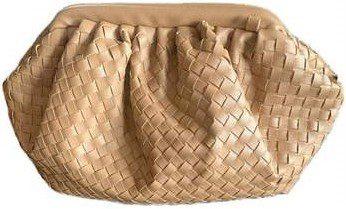 Beige Large Woven Faux-Leather Cloud Bag-Baltic Guild