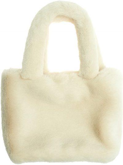 Beige Super Cute Faux Fur Mini Tote Bag
