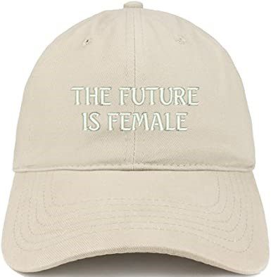 Beige The Future is Female Embroidered Cap-Trendy Apparel Shop